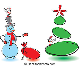 Winter card with snowman and birds. Vector illustration