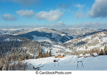 Winter Carpathian Mountains landscape, Ukraine.