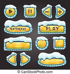 Winter cartoon yellow buttons with snow