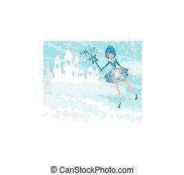 Winter castle landscape and fairy