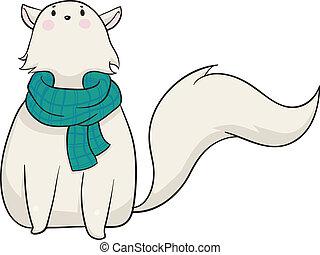 Winter Cat - Vector illustration of a cartoon cat wearing a...