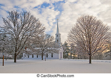 Winter Chapel - Chapel in a snowy New England shot at dawn