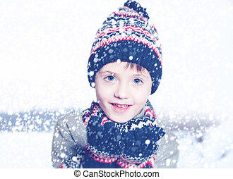 Winter Child Boy on Snow Background