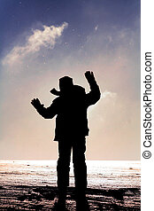 Winter child - Winter silhouette, child is throwing snow in ...