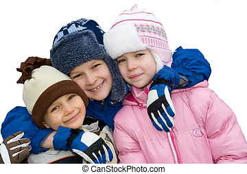 e44ec231feff2 Group of kids in winter clothes Stock Imageby sbworld98 93 winter children  - happy sister with brother