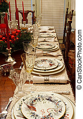 Winter China on Dining Table