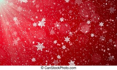Winter Christmas Background, Falling Red Left to Right Loop...