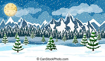 Winter christmas background. Pine tree wood and snow. Winter...
