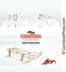 Winter Christmas background with a sleigh and a santa hat. Vector.