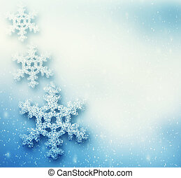 Winter, Christmas background with big snowflakes, snow...