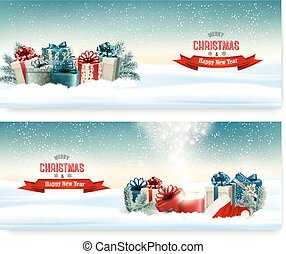Winter christmas background with colorful presents Vector.