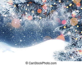 winter christmas background with snow and fir branches frame