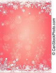 Winter christmas background with snow and snowflake border