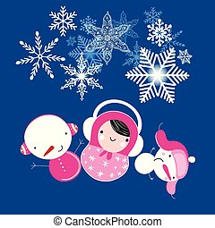 Winter Christmas card with matryoshka and snowmen