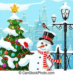 Winter christmas city background.