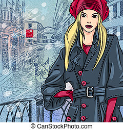 winter Christmas color sketch with beautiful fashion girl on the Bridge of Sighs in Venice