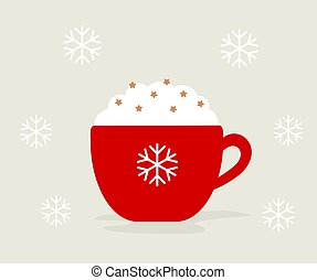 Winter Christmas cup of hot chocolate or coffee with whipped cream in red cup.
