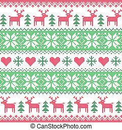Winter, Christmas deer pattern