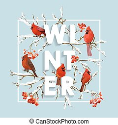 Winter Christmas Design in Vector. Winter Birds with Rowan Berries Retro Background. T-shirt Fashion Graphic.