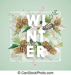 Winter Christmas Design in Vector. Winter Flowers with Pines Retro Background. T-shirt Fashion Graphic.