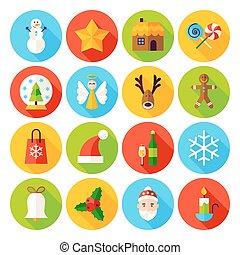 Winter Christmas Flat Icons