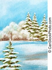 Winter Christmas Forest Landscape