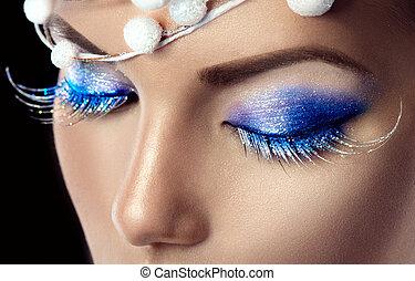Winter Christmas holiday makeup