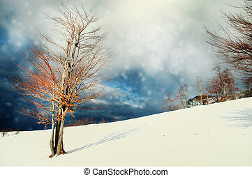 Winter Christmas landscape background