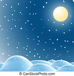 Winter christmas landscape in night