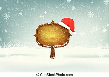 Winter Christmas Landscape With a Wooden Sign.