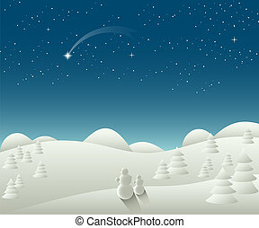 Winter Christmas landscape with falling star