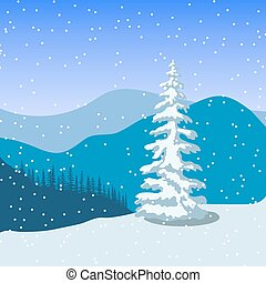 Winter christmas landscape with silhouettes of mountains, ...