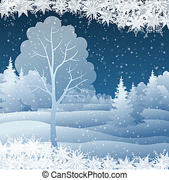 Winter Christmas landscape with tree