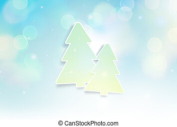 winter christmas light blue blurred background