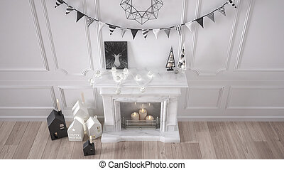 Winter, Christmas, New Year interior design with fireplace and decor, white modern minimal architecture, top view