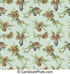 Winter Christmas Retro Background - Seamless Pattern - in vector