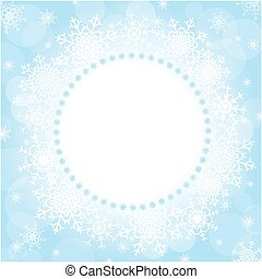 Winter Christmas round frame of snowflakes with blank space...
