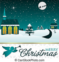 Winter Christmas scene card in vector format.