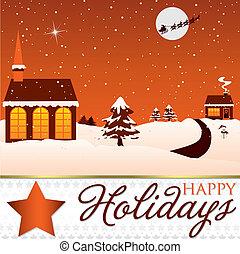 Winter Christmas scene card in vector format.