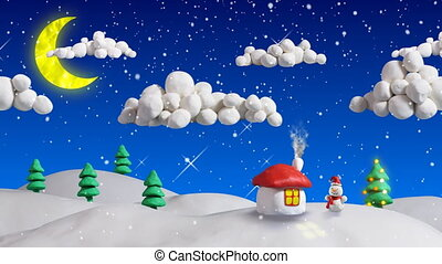 seamless loop clay animation. christmas scene house and firs