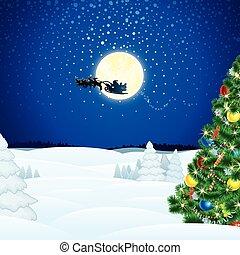 Winter Christmas Scene with Santa Sleigh