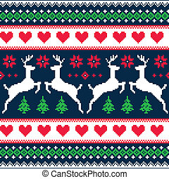 Winter, Christmas seamless pattern - Nordic folk art vector...
