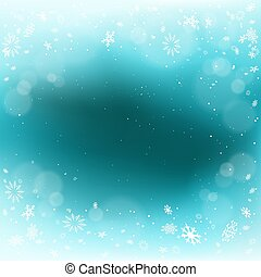 Winter Christmas snowfall blue background