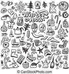 winter , Christmas symbols - doodles set
