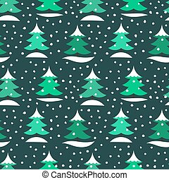Winter Christmas trees in snow seamless pattern.