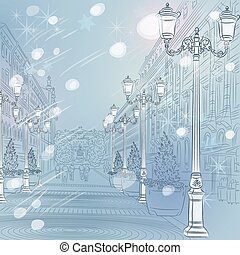 winter Christmas Urban landscape, the wide avenue with...