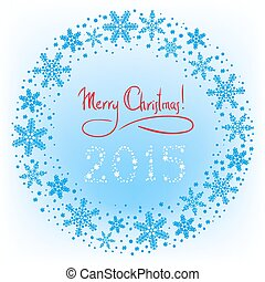 Winter Christmas wreath background with snowflakes