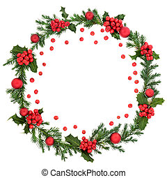Winter & Christmas Wreath with Red Holly Berries