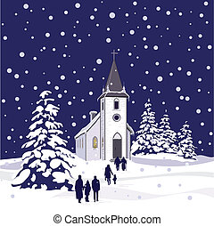 A winter scene of a small country church at night, with snow-covered evergreen trees, and people walking through the falling snow towards the church.