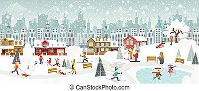 (winter), cidade, fim semana